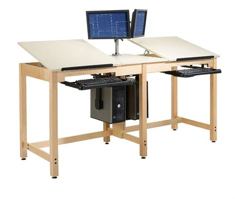 Cad Drafting Table Shain Cdtc 73 Two Station Cpu Drafting Table