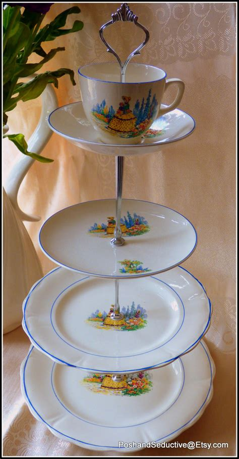 Handmade Cake Stand - palissy tiered handmade cake stand made using plates