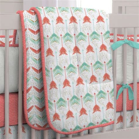 teal crib bedding set coral and teal arrow 3 crib bedding set carousel