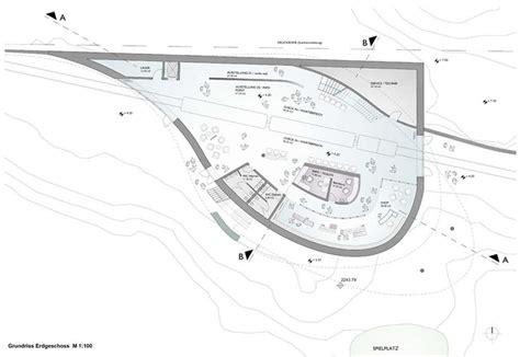 the curve floor plan top terminal for the rei 223 eck incline railway in austria by