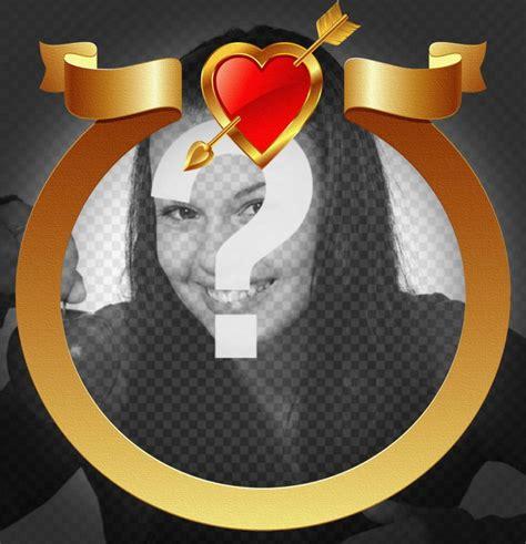 aggiungere cornice foto cornice dorata con cuore e freccia aggiungere la foto
