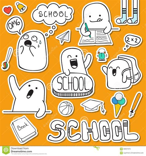 free vector doodle characters set sticker doodle characters and school supplies stock