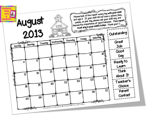 Calendar For Home Freebielicious Clip Chart Take Home Calendars For 2013 2014