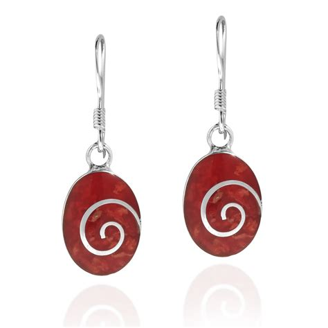 925 Sterling Silver Coral Earrings charming swirl coral oval disc 925 sterling silver