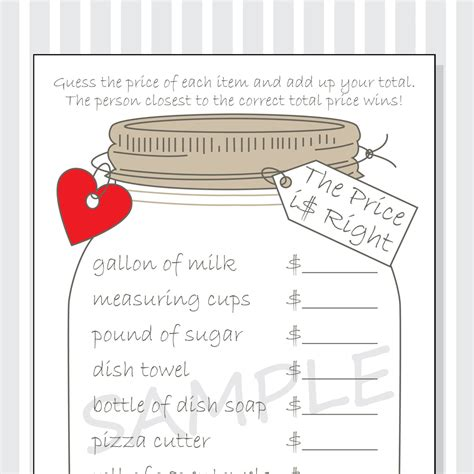 price is right bridal shower template the price is right printable cards for a bridal shower
