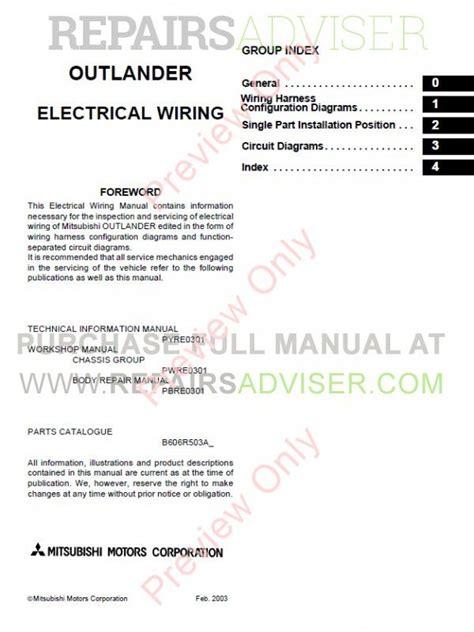 free online auto service manuals 2003 mitsubishi outlander parental controls mitsubishi outlander 2003 2006 workshop manual pdf