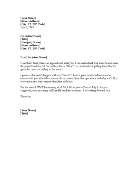 free meeting confirmation letter template office
