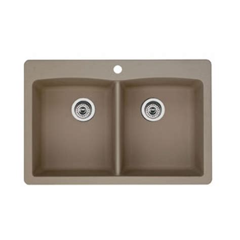 Blanco Silgranit Kitchen Sink Blanco 441285 Equal Bowl Drop In Silgranit Ii Kitchen Sink Truffle