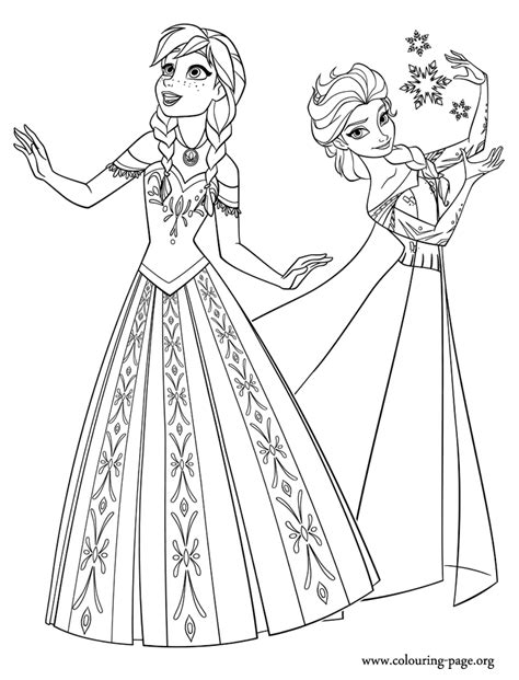 frozen two princesses of arendelle coloring page