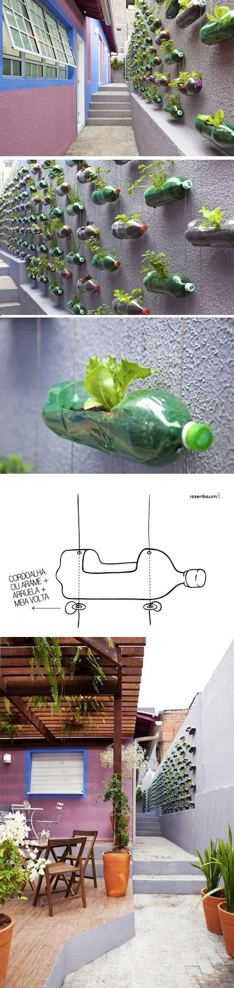 awesome vertical garden with recycled pet bottles at poor