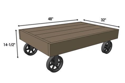 industrial cart coffee table free diy plans rogue engineer