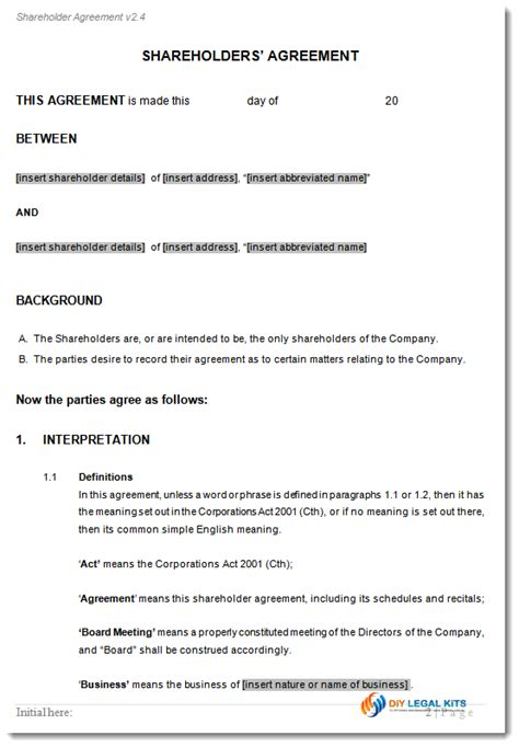simple shareholders agreement template shareholders agreement template