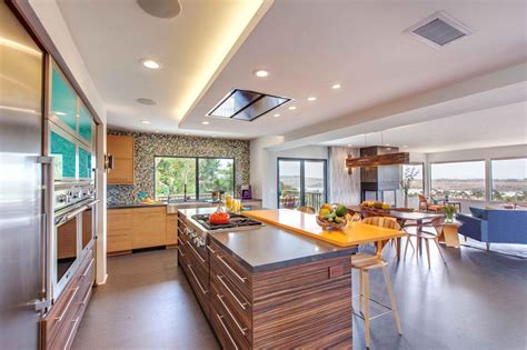 modern open kitchen concept modern kitchen features colorful mosaic accent wall