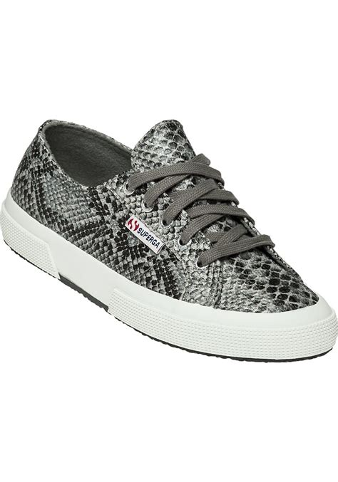 superga canvas womens  snake trainers  grey snake