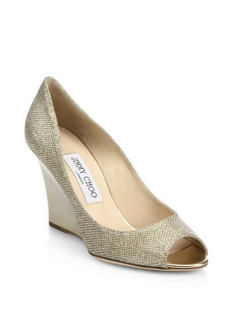jimmy choo baxen metallic wedge sandals in metallic lyst