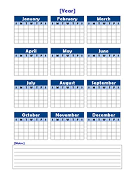 free yearly blank calendar template printable blank
