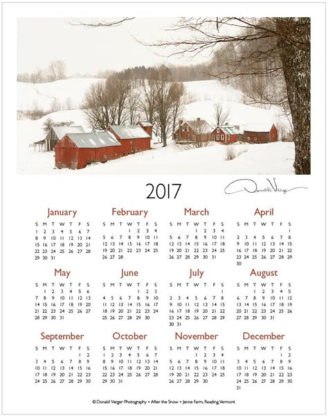 One Page Calendar 2017 The 2017 One Page Calendars Are Out Donald Verger