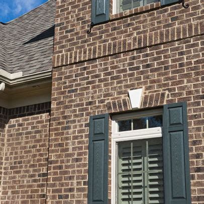 brown brick homes white trim shutter color