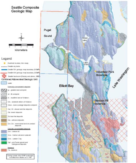 seattle geologic map of 2004 1419 shear and compressional wave velocity