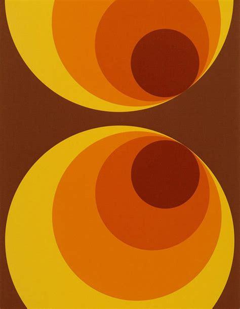 Tapisserie ées 70 by Papier Peint Apollo Brun Jaune Orange Papier Peint