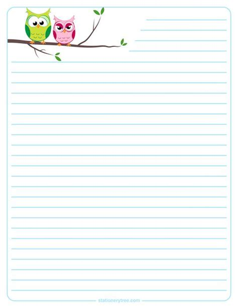 printable paper owl owl stationery and writing paper notes stationery