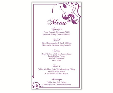diy menu template wedding menu template diy menu card template editable text
