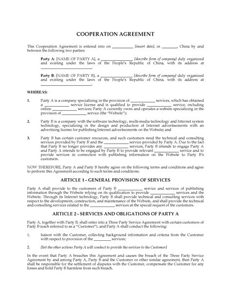 China Cooperation Agreement For Provision Of Services Via Website Legal Forms And Business Cooperation Agreement Template
