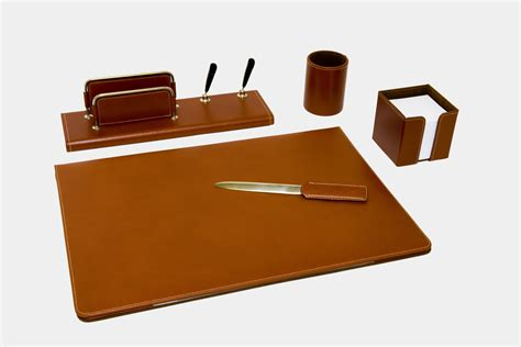 set scrivania pelle set scrivania 5 pz in pelle quot gemini quot made in italy orna