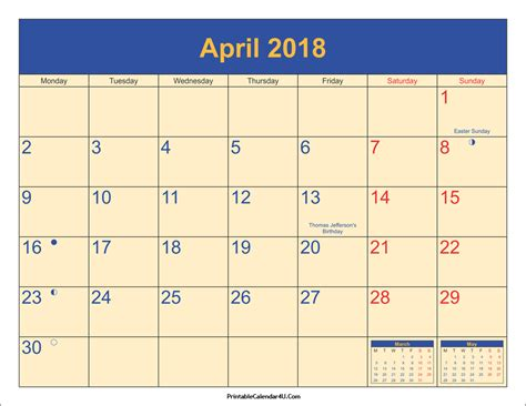 Calendar April 2018 April 2018 Calendar Printable With Holidays Pdf And Jpg