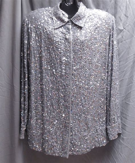 plus size formal beaded tops judith creations sequined gray formal top blouse size