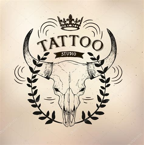 old school tattoo words toro del cranio del tatuaggio della vecchia scuola studio