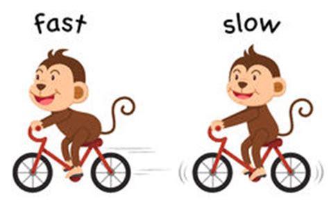 adjetivos opuestos con left and right ilustraci 243 n del adjetivo opuesto lento y r 225 pido ilustraci 243 n del vector