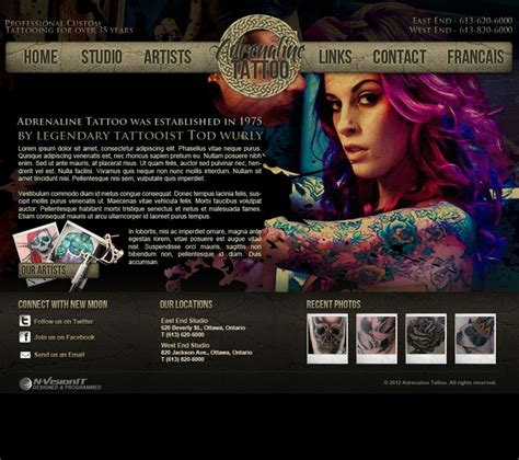 tattoo pictures websites website print design adrenaline tattoo ottawa web