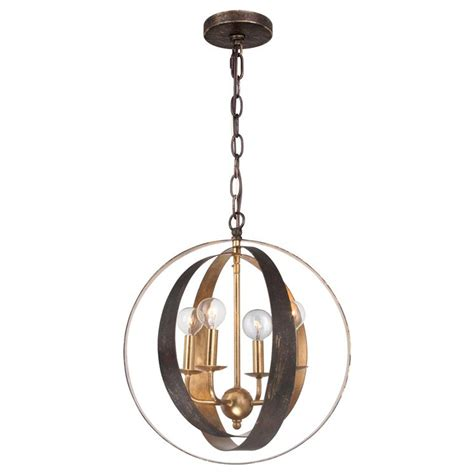 4 Light Pendant Fixture Four Light Bronze Gold Sphere Chandelier By Crystorama