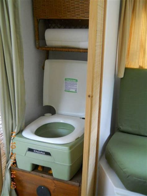 porta potty in the closet boler caravan renovation