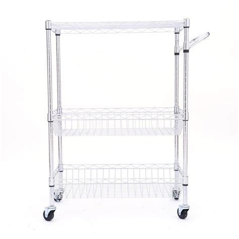 3 tier rolling steel kitchen trolley cart island wire rack