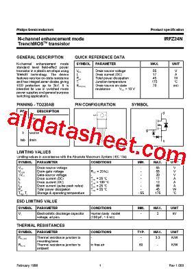 Transistor Irfz24n irfz24n datasheet pdf nxp semiconductors