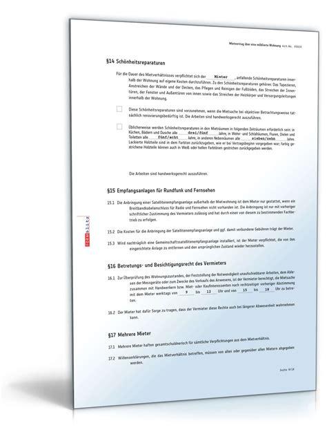 wohnung mietvertrag mietvertrag m 246 blierte wohnung muster zum