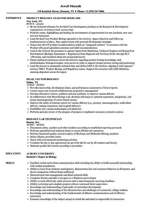 Biology Resume by Biology Resume Sles Velvet