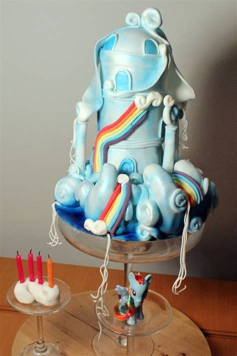 rainbow dash house my little pony rainbow dash cloud house cake cakecentral com