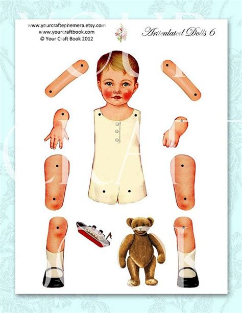 vintage paper doll digitial download by yourcraftephemera 263 best articulated paper dolls faces images on