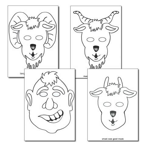 goat mask coloring page billy goat gruff role play masks colouring sheets