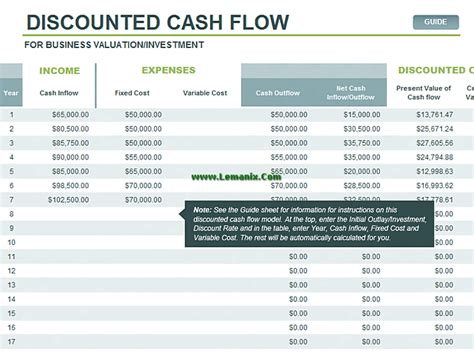 exle discounted cash flow model cash related office templates for ms office software