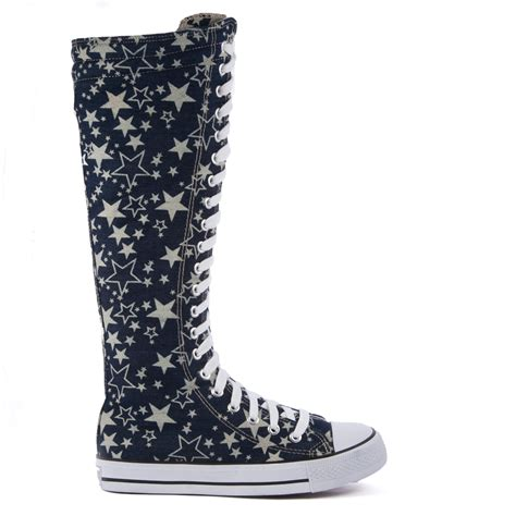 knee high canvas boot shoes casual sneakers