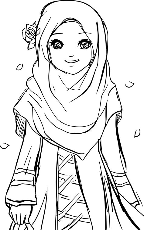 page of muslim woman coloring pages