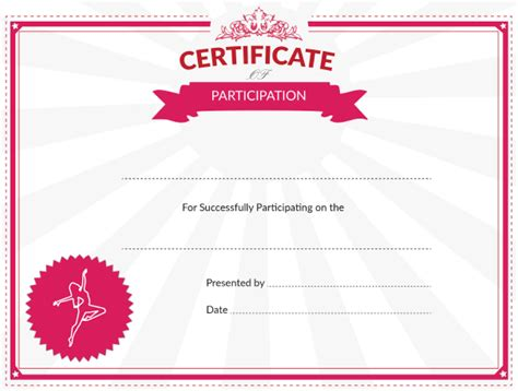 templates for dance certificates printable dance certificate of participation award