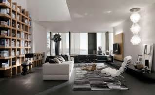 Modern living room interior with bright minimalist sofas and black