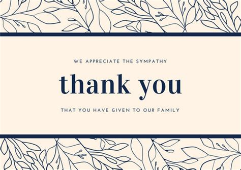 sympathy thank you cards templates and navy blue foliage border sympathy thank you card