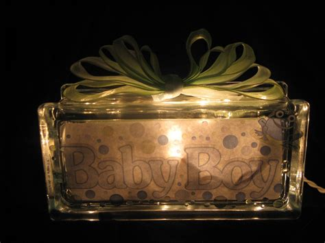 Baby Boy Lighted Glass Block Glass Block Light