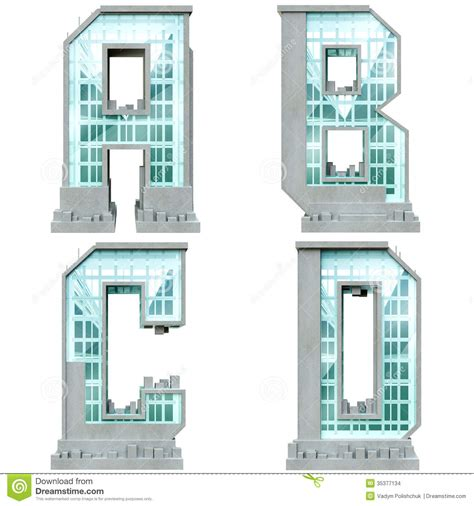 Building House Plans by Alphabet In The Form Of Urban Buildings Stock
